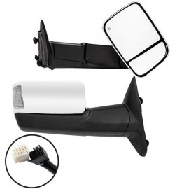 Power Heated LED Puddle Lamp Chrome Tow Mirrors For 2010-12 Ram Side Mirror Pair