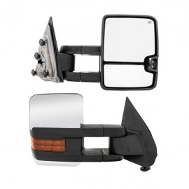 PAIR(2) Chrome For 14-18 Chevy Silverado GMC Sierra Tow Power Heated LED Mirrors