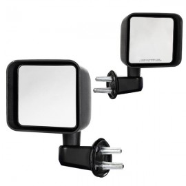 Manual Mirrors Black Left Right Side Pair For 2007-2017 Jeep Wrangler