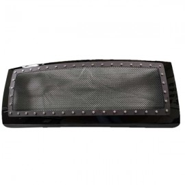 For 2009-2014 Ford F150 Polished Black Front Bumper Hood Replacement Mesh Grille
