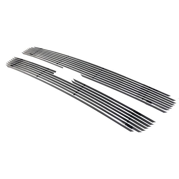 2pcs Aluminum Front Grilles for 03-05 Chevy Silverado LD, 03-06 Chevy Avalanche without Charcoal Body Cladding, 03-04 Chevy Silverado HD