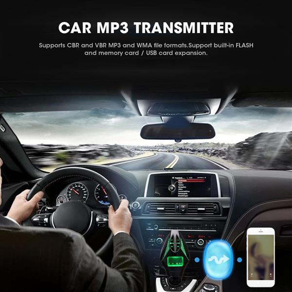 Auto Car MP3 Transmitter Remote Control Kit LCD Screen Display USB 2.1A Charging Charger